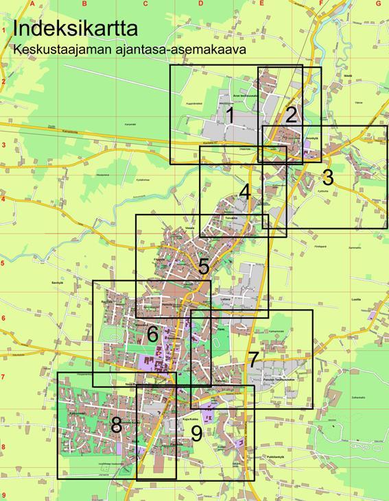 Kartta ajantasa-asemakaavasta tulostettujen pdf-tiedostojen rajautumisesta
