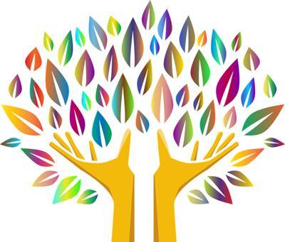 Värikäs piirretty puu, jossa runko muodostuu käsistä ja sormet ovat oksia.