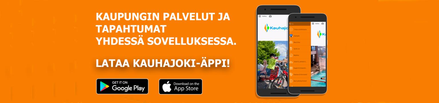 Kaupungin palvelut ja tapahtumat yhdessä sovelluksessa. Lataa Kauhajoki-Äppi.