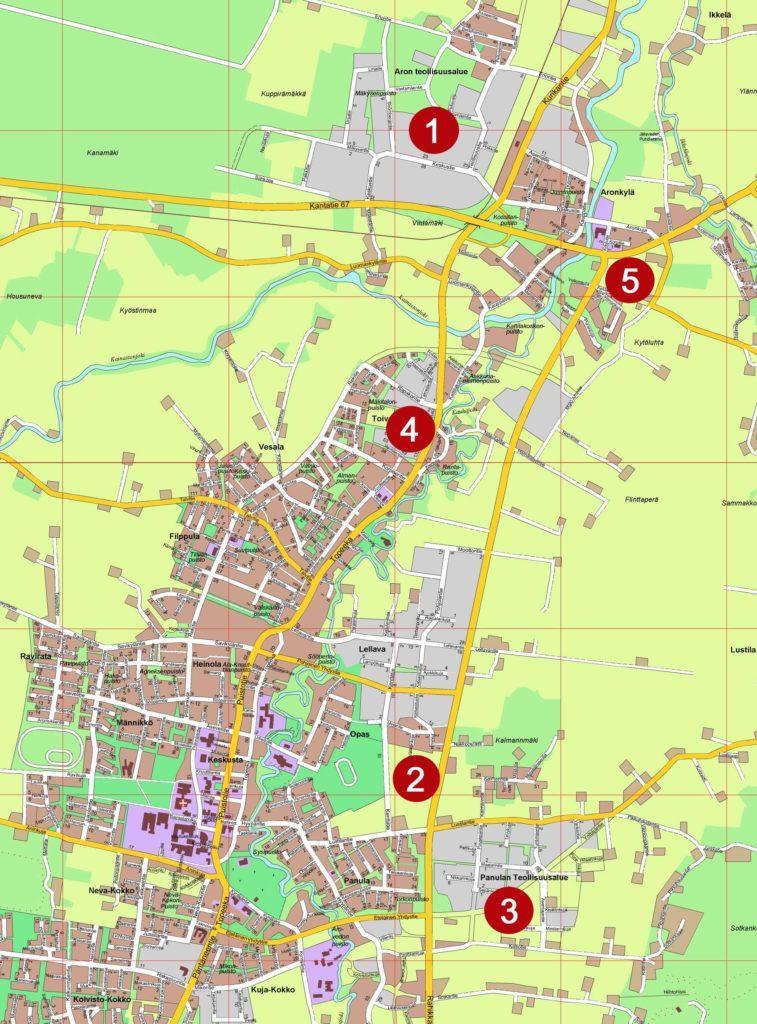 Kartta Kauhajoella tarjolla olevien teollisuustonttien sijainnista