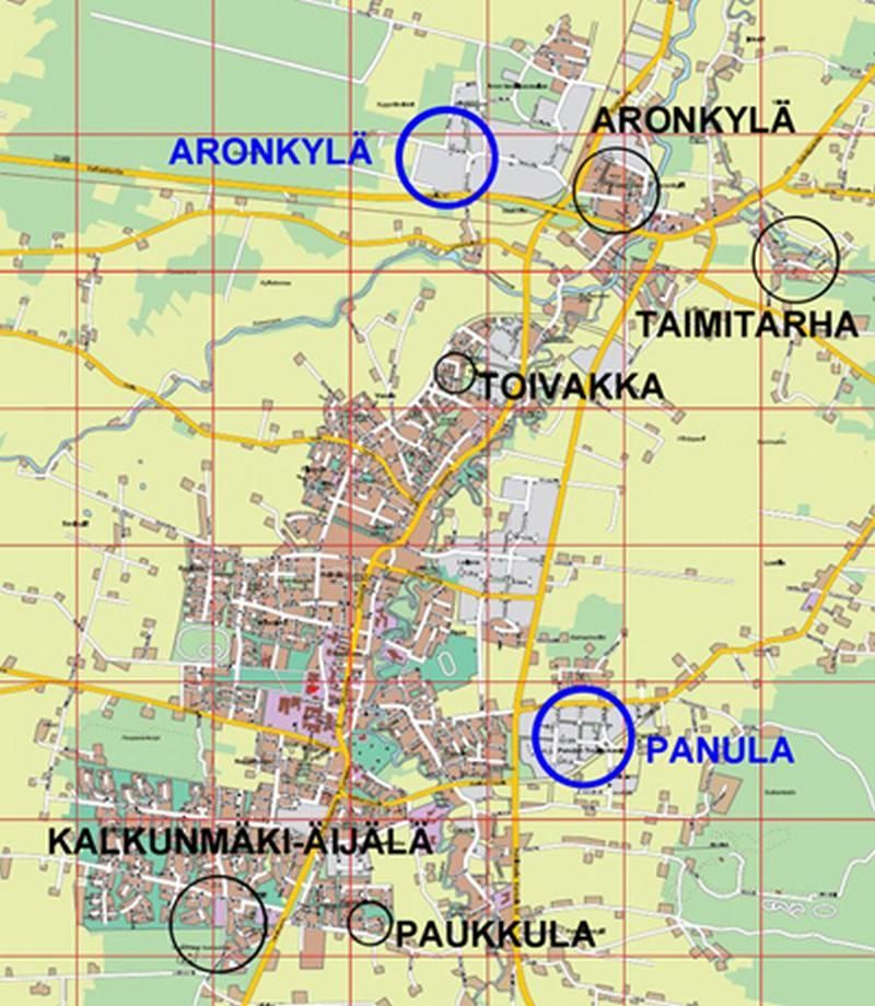 Kartta vapaiden tonttien sijainnista eri alueilla.