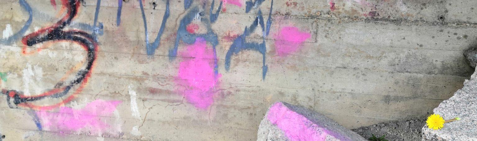 Betoniseinää töhritty graffiteilla.