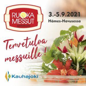 Ruokamessujen mainos. Yläreunassa Ruokamessujen logo. Teksti, jossa lukee 3.-5.9.2021 Hämes-Havusessa. Lisäksi myös teksti tervetuloa messuille vasemmassa laidassa. Vihanneksia mainoksen oikeassa sivussa. Kauhajoen kaupungin logo.