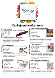 Kauhajoen kansalaisopiston kesäkurssit 2021