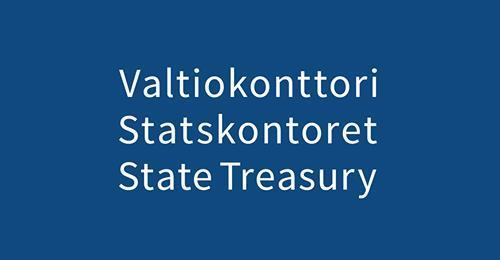 sinisellä pohjalla valkoinen teksti valtionkonttori statskontoret state treasury