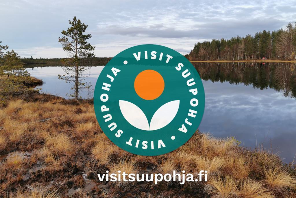 Visit Suupohjan logo, jonka taustalla suomaisema.