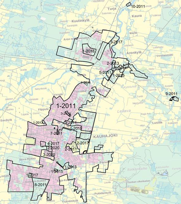 Kartta Kauhajoella voimassa olevien kaavojen rajoista kaavatunnuksineen