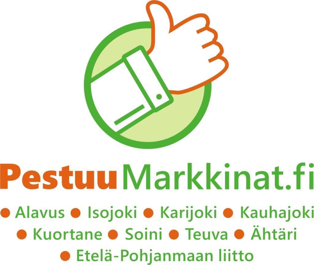 Pestuumarkkinat logo, jossa peukku pystyssä ja luettelo mukana olevista kunnista