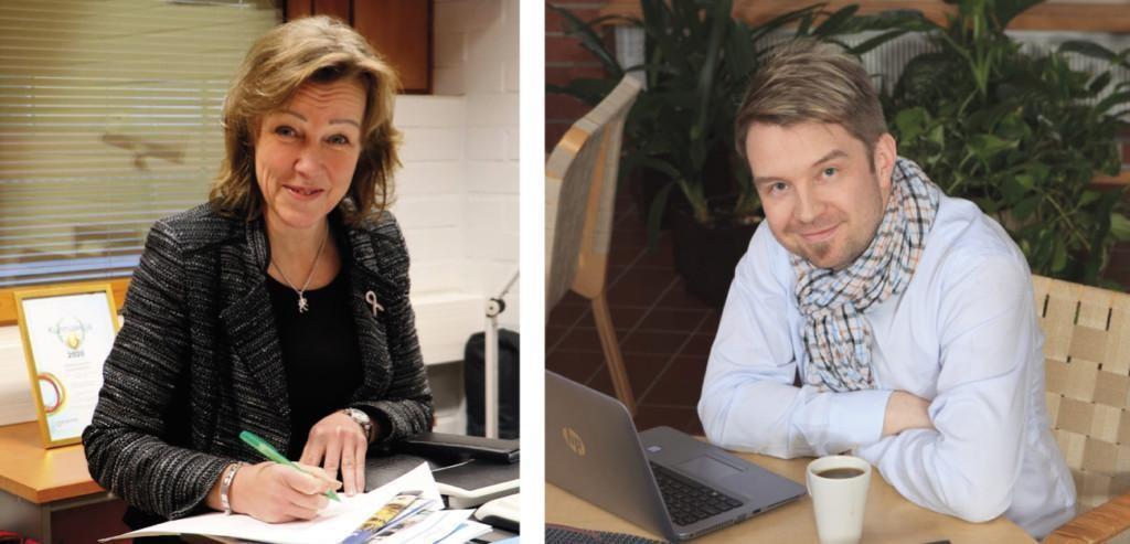 Kuvassa hyvinvointijohtaja Eija Liikamaa istuu työpöytänsä takana kynä kädessään ja kasvatus- ja opetusjohtaja Lari Marjamäki istuu kahviossa.
