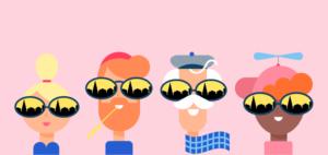 Kuntavaalien mainoskuva, jossa neljä piirrettyä henkilöä vaaleanpunaista taustaa vasten.