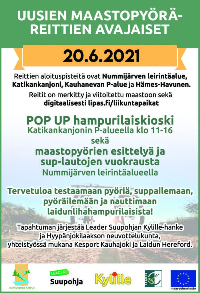 Mainos maastopyöräeittien avajaisista 20.6.2021.