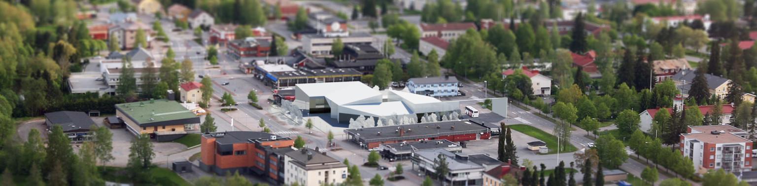 Arkkitehti Petri Kontukosken hahmottelema visio pienkauppakeskuksen ja matkahuollon yhdistelmästä